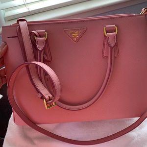 Prada Saffiano Lux Double Handle Petalo (Pink)